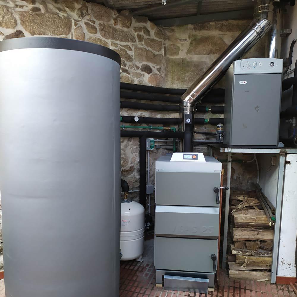 instalación caldeira chama inversa