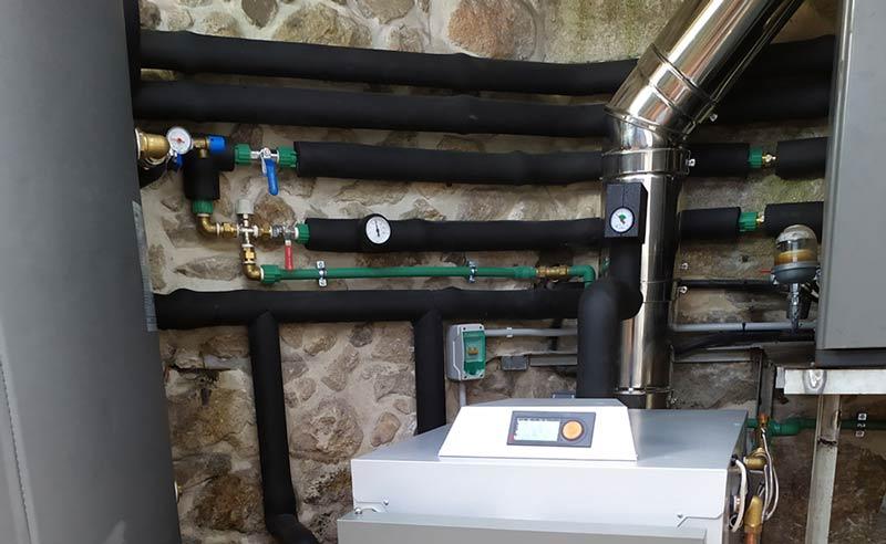 instalación calefacción con leña